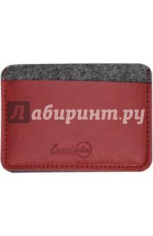 Чехол для пластиковых карт (фетр, 95 х 67 мм, графитово-красный) (45289)