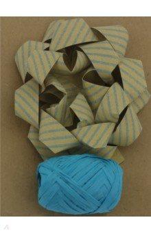 Набор для оф подарков: бант+лента синие крафт (76947)