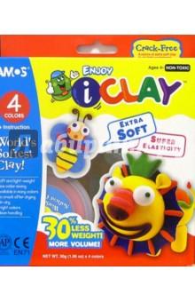 Глина для моделирования 4 цвета I Clay /22034 (картонная упаковка)