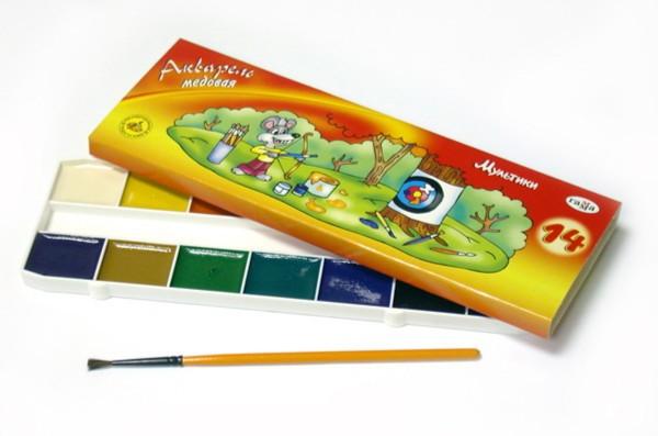 Иллюстрация 1 из 10 для Краски акварель Мультики 14 цветов (211051) | Лабиринт - канцтовы. Источник: Лабиринт