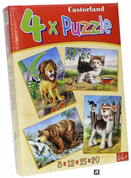 """Иллюстрация 1 из 29 для Puzzle-8*12*15*20 """"Звери"""" (4 в 1) (В-04041)   Лабиринт - игрушки. Источник: Лабиринт"""