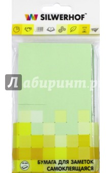 Бумага самоклеящаяся 100 листов 75х125 мм, зеленая (682005-02)