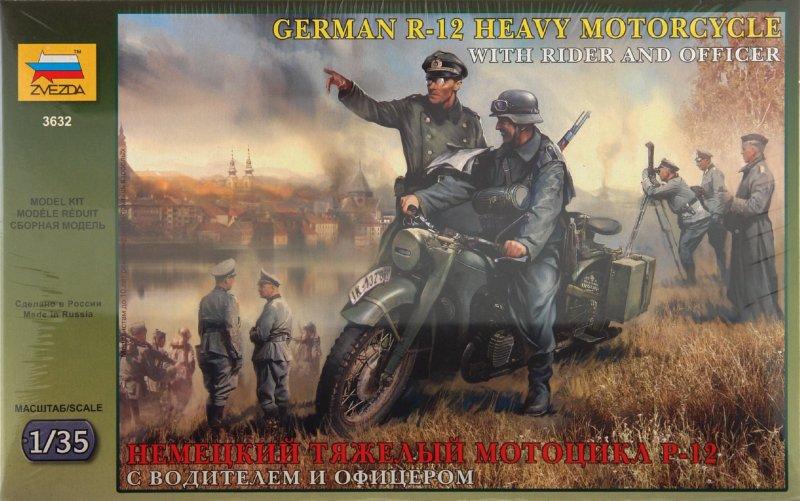 Иллюстрация 1 из 4 для Немецкий тяжелый мотоцикл Р-12 с водителем и офицером (3632) | Лабиринт - игрушки. Источник: Лабиринт
