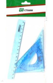 Набор геометрический малый (линейка 16 см, треугольники 2 штуки, транспортир) (НГ01)