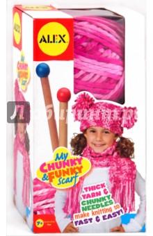 Набор для вязания шапки и шарфа: спицы + пряжа (87PN) пряжа для вязания пехорка вискоза натуральная цвет камелия 125 400 м 100 г 5 шт