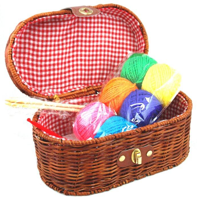 иллюстрация 4 из 4 для набор для вязания пряжа спицы в корзинке