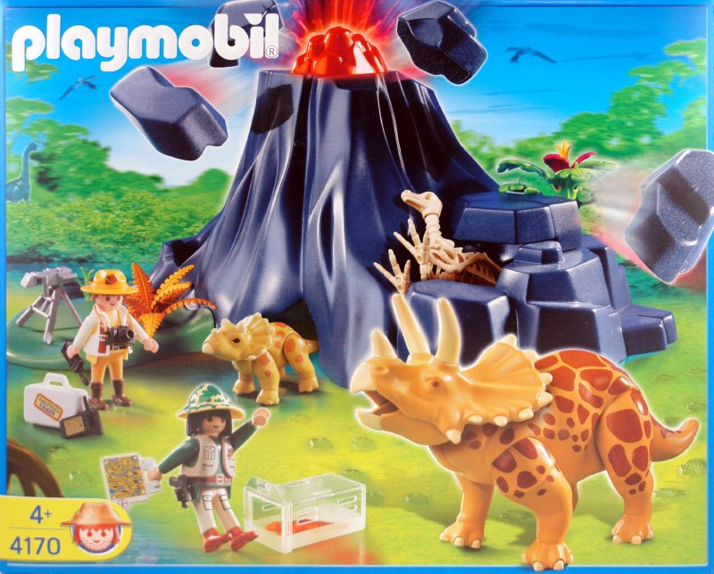 Иллюстрация 1 из 6 для Трицераптор с детенышем у вулкана (4170) | Лабиринт - игрушки. Источник: Лабиринт