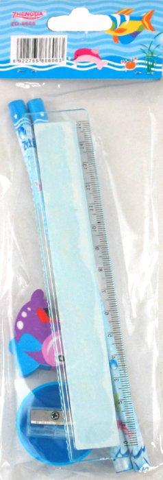 """Иллюстрация 1 из 6 для Набор """"Морской мир"""". 2 карандаша, ластик, точилка, линейка (ZD6606)   Лабиринт - канцтовы. Источник: Лабиринт"""
