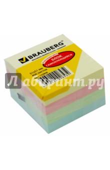 Блок самоклеящийся (51х51 мм, 400 листов, 4 цвета) (122858) блок для записи самоклеящийся inblooom 100 листов 4 цвета с рисунком 28074