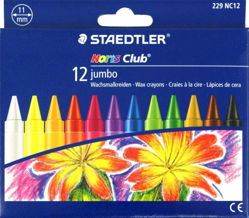 Иллюстрация 1 из 2 для Мелки восковые 12 цветов Noris Club Jumbo (229 NC12) | Лабиринт - канцтовы. Источник: Лабиринт