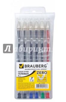 Набор гелевых ручек Zero 0,5мм., 6 шт., синий, черный, красный, зеленый (141024) hao yue style набор гелевых ручек 4 цвета