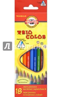 Карандаши цветные, 18 цветов. Трехгранные (3133) карандаши цветные spider man 18 цветов в картонной упаковке