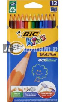 Карандаши цветные Evolution (12 цветов) (829029) bic цветные карандаши evolution новогодний набор 18 цветов