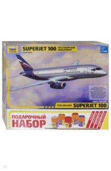 Купить Региональный пассажирский авиалайнер Суперджет 100 (7009П), Звезда, Пластиковые модели: Авиатехника (1:144)