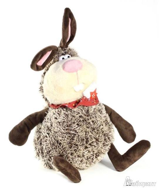 Иллюстрация 1 из 2 для Мягкая игрушка. Большой коричневый кролик в бандане. 27 см (41008) | Лабиринт - игрушки. Источник: Лабиринт