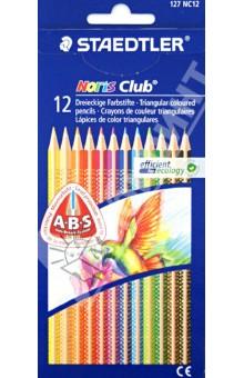 Карандаши цветные трехгранные Noris Club (12 цветов) (127NC1211) карандаши цветные трехгранные noris club jumbo 6 цветов 128nc6