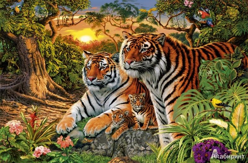 """Иллюстрация 1 из 6 для Step Puzzle, 1500 элементов. """"Сколько тигров?"""" (83048)   Лабиринт - игрушки. Источник: Лабиринт"""
