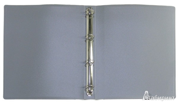 Иллюстрация 1 из 3 для Папка A4 4 кольца серая (RB 25-4-05) | Лабиринт - канцтовы. Источник: Лабиринт