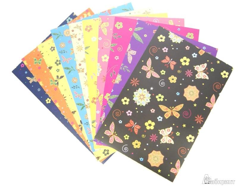 """Иллюстрация 1 из 14 для Набор цветного поделочного картона. 10 листов. А4. """"Бабочки и цветы"""" (11-410-78)   Лабиринт - канцтовы. Источник: Лабиринт"""