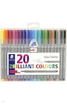 Капиллярная ручка Triplus 0,3 мм. Набор 20 цветов (334SB20) STAEDTLER