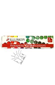 """Краски акварельные. Набор """"Illision"""" (6 цветов, без кисточки) (10-1006) Гамма"""