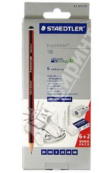 Карандаши чернографитные Tradition 110, 6 штук, 2H, HB, B, 2B, 4B, 6B + точилка, ластик (61110C6)