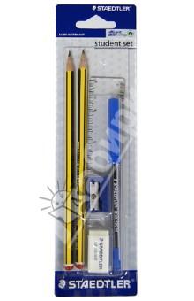 Карандаши чернографитные, ластик, точилка, линейка, шариковая ручка (120SETBKD10) академия групп канцелярский набор точилка ластик barbie