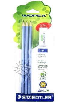 Набор чернографитных карандашей HB (3 шт.) + ластик (180SPBK3GB)