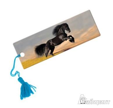 """Иллюстрация 1 из 5 для Сувенир. 3D-закладка """"Вороной конь"""" (15 см) (52140)   Лабиринт - канцтовы. Источник: Лабиринт"""