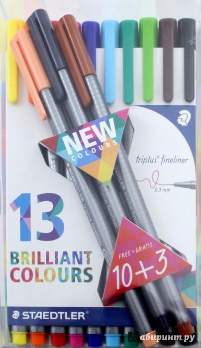 Иллюстрация 1 из 14 для Капиллярная ручка Triplus (0,3 мм., 13 штук) | Лабиринт - канцтовы. Источник: Лабиринт
