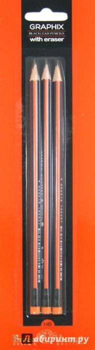 Иллюстрация 1 из 6 для Карандаши чернографитовые (3 штуки, с ластиком) (21-0008) | Лабиринт - канцтовы. Источник: Лабиринт