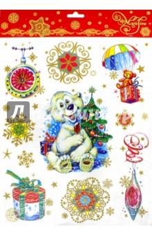 """Украшение новогоднее оконное """"Белый мишка"""" (34336)"""