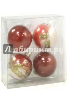 Набор ёлочных шаров (4 штуки,  d=7 см, красный цвет) (TZ 12250)