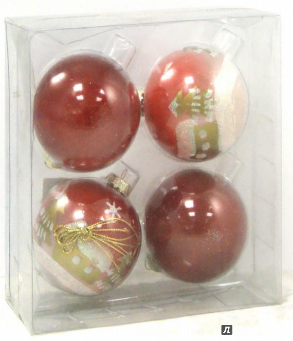 Иллюстрация 1 из 3 для Набор ёлочных шаров (4 штуки,  d=7 см, красный цвет) (TZ 12250) | Лабиринт - игрушки. Источник: Лабиринт