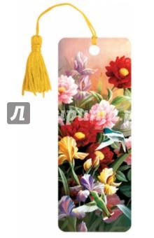 """3D закладка для книг с линейкой """"Цветы"""" (125777)"""