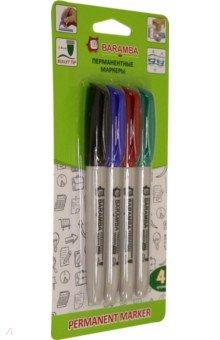 Набор перманентных маркеров (4 цвета) (BM0034) набор маркеров перманентных stanger m236 712020 скошенный пиш наконечник 1 4мм 4цв