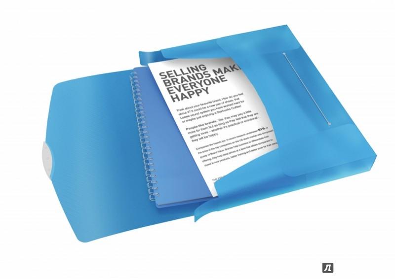 Иллюстрация 1 из 2 для Папка-бокс с резинкой (A4, 40 мм, полупрозрачная, синяя) (624047) | Лабиринт - канцтовы. Источник: Лабиринт