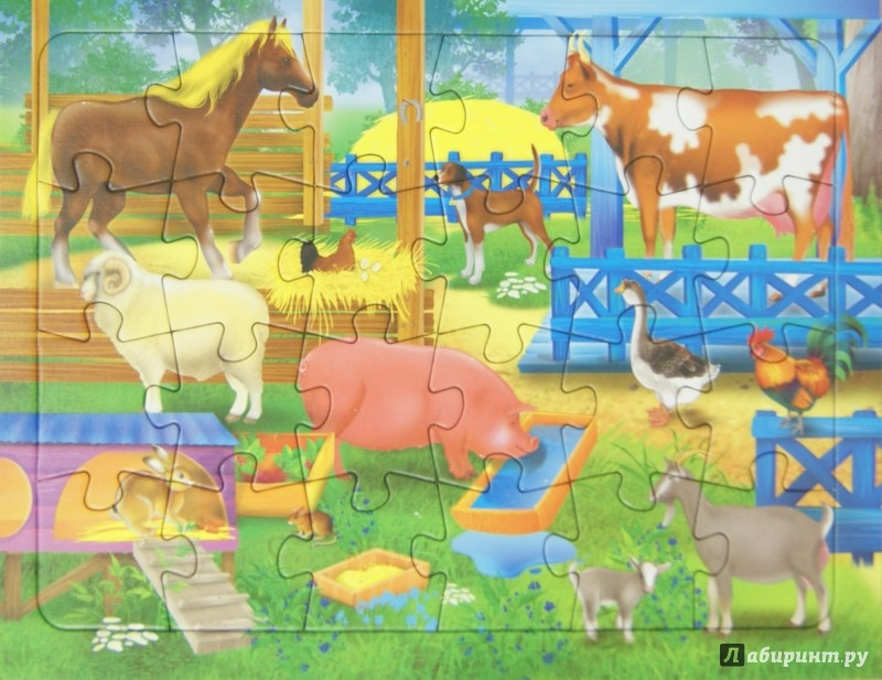 Иллюстрация 1 из 3 для Пазл. В деревне. 24 детали | Лабиринт - игрушки. Источник: Лабиринт