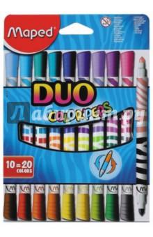Фломастеры двусторонние COLOR'PEPS DUO. 20 цветов. 10 штук (847010) мел maped круглый белый 10 штук в блистере