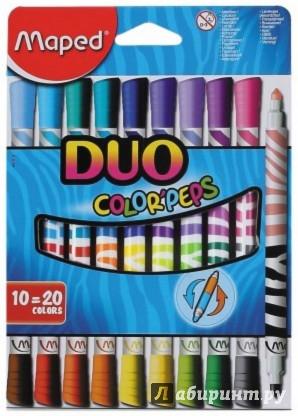 Иллюстрация 1 из 7 для Фломастеры двусторонние COLOR'PEPS DUO. 20 цветов. 10 штук (847010) | Лабиринт - канцтовы. Источник: Лабиринт