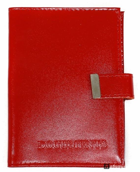 Иллюстрация 1 из 4 для Обложка на автодокументы с кнопкой (кожа, красная)   Лабиринт - канцтовы. Источник: Лабиринт