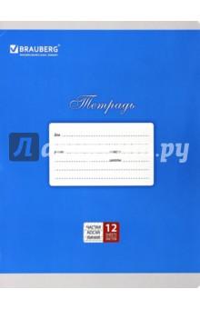 Тетрадь 12 листов, частая, косая линия, для прописей, в ассортименте (103278)
