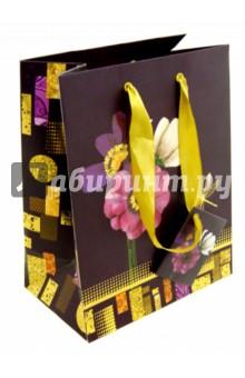"""Пакет бумажный подарочный """"Цветы"""" (А5, в ассортименте) (2-105/2)"""