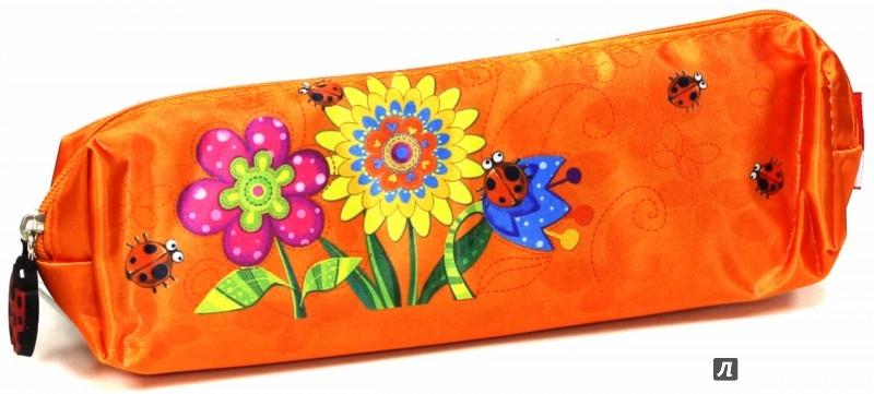 """Иллюстрация 1 из 9 для Пенал школьный """"Цветы на оранжевом"""", без наполнения (34726-36)   Лабиринт - канцтовы. Источник: Лабиринт"""