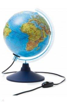 Глобус Земли физико-политический рельефный с подсветкой (d=210 мм) (Ке022100185).