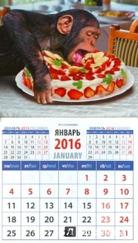 Иллюстрация 1 из 2 для Календарь на магните 2016. Год обезьяны. Шимпанзе с тортом (20637) | Лабиринт - сувениры. Источник: Лабиринт