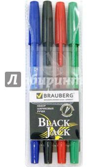 Ручки шариковые, набор 4 штуки (синий, черный, красный, зеленый) (141290)