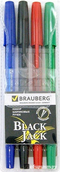 Иллюстрация 1 из 5 для Ручки шариковые, набор 4 штуки (синий, черный, красный, зеленый) (141290) | Лабиринт - канцтовы. Источник: Лабиринт