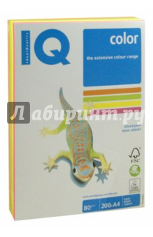 Бумага для печати IQ COLOR MIX NEON, 4 цвета, 200 листов (RB04)