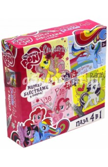 Пазл 4 в 1 My Little Pony + маркер с блестками (02106) пазлы origami пазл дм зайчик и волчонок 25 элементов
